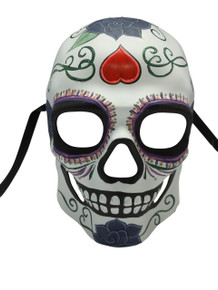 White Glow in Dark Day of the Dead Halloween Skull Masquerade Mask