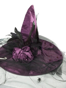 Victorian Satin Purple Halloween Witch Hat w/ Veil Bow Spider Flower