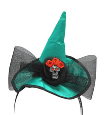 Mini Emerald Green Witch Hat Skull Bow Headband