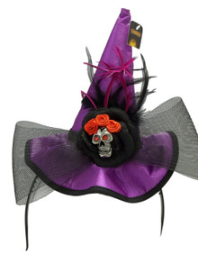 Mini Purple Witch Hat Skull Bow Feathers Headband