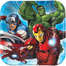 """Avengers Birthday Party Cake Dessert 7"""" Paper Plates Square 8 Ct"""