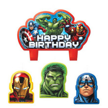Avengers Birthday Party 4 Pc Candles Set Cake Topper