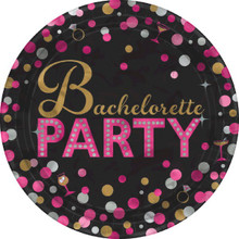 "Bachelorette Night Round Metallic Plates 8 7"" Dessert Shower Bridal"