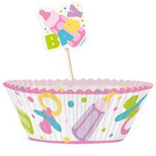 Girl Pink Baby Shower Favors Cupcake Kit 24 Baking Cups Picks
