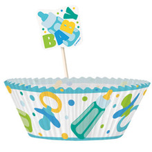 Boy Blue Baby Shower Favors Cupcake Kit 24 Baking Cups Picks