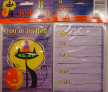 Halloween Party 8 Invitations with Envelopes Cat Moon Pumpkin