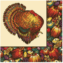Autumn Turkey 30 Beverage Napkins Fall Thanksgiving