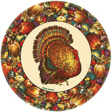 "Autumn Turkey 12 7"" Dessert Cake Plates Fall Thanksgiving"