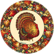 "Autumn Turkey 10 9"" Luncheon Plates Lunch Fall Thanksgiving"