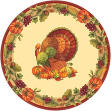 "Joyful Thanksgiving 60 9"" Lunch Plates Value Pack Fall Turkey"