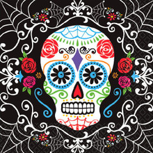 Day of the Dead Sugar Skull Halloween Party 36 Ct Beverage Napkins