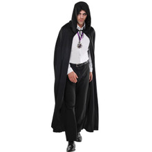 Hooded Adult Long Black Cape Grim Reaper