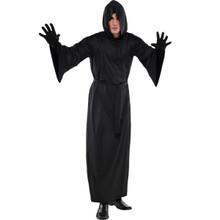 Hooded Adult Long Black Horror Robe Grim Reaper Scream