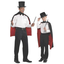 Adult Black Red Magician Cape One Size Standard