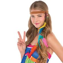 Hippie Headband Groovy 60's Feather Beads