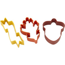Wilton Acorn Banner Leaf Metal Cookie Cutter Set 3 pc Thanksgiving