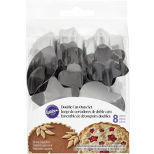 Wilton Double Cut Out 8 Cutters Pie Cookies Metal 16 designs