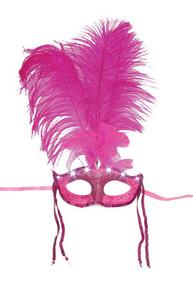 Fushia Light Up Pink Feather Mask Masquerade