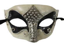 Black White Silver Foil Masquerade Mardi Gras Mask Mens Men A