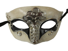 Black White Silver Foil Masquerade Mardi Gras Mask Mens Men B