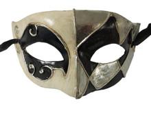 Black White Silver Foil Masquerade Mardi Gras Mask Mens Men C