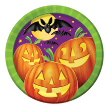 "Pumpkin Shine 8 9"" Dinner Lunch Plates Halloween Party Bats"
