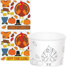 Thanksgiving Activity Stickers 6 Paper Treat Cups