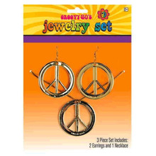 Peace Sign Medallion Necklace and Earrings Set Groovy 60s Hippie