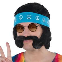 Groovy 60's Hippie Character Costume Kit Wig, Mustache Headband