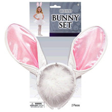 Child Bunny Costume Set Pink White Ears Headband, Tail