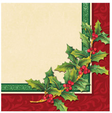 Festive Greenery Holly 16 Beverage Napkins Christmas Party