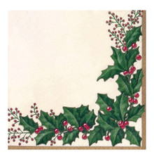 Winter Holly 36 Ct Beverage Napkins Christmas Party