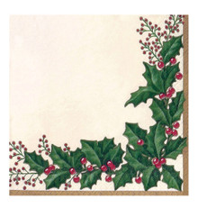 Winter Holly 16 Ct Extra Large Dinner Napkins Christmas Party