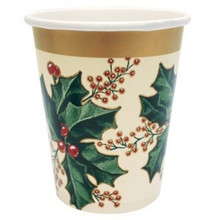 Winter Holly 9 oz 25 Ct Cups Goblets Paper Christmas Party