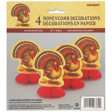 "6"" Mini Honeycomb Festive Turkey Thanksgiving Decorations, 4-Count"