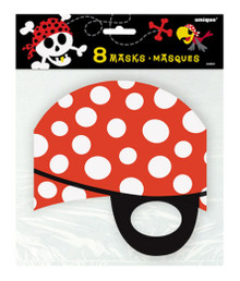 Pirate 8 Paper Face Masks Birthday Party