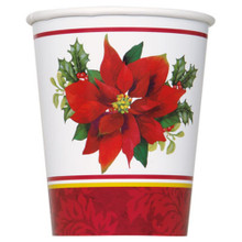 Holly Poinsettia 8 Ct Christmas Paper 9 oz Cups