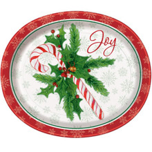 Candy Cane Christmas Joy 8 Ct Oval Paper Platters Party Banquet