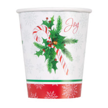 Candy Cane Christmas  Joy 8 Ct 9 oz Hot Cold Paper Cups