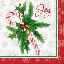Candy Cane Christmas Joy 16 Ct Luncheon Napkins