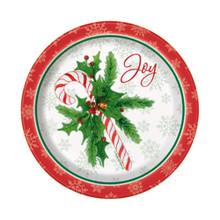 "Candy Cane Christmas Joy 8 Ct Paper Dessert Cake 7"" Plates"