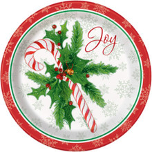 "Candy Cane Christmas Joy 8 Ct Paper Dinner Luncheon 9"" Plates"