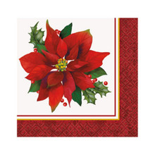 Holly Poinsettia 16 Ct Paper Beverage Napkins Christmas