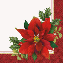 Holly Poinsettia 16 Ct Paper Luncheon Napkins Christmas