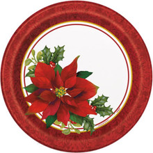 "Holly Poinsettia 8 Ct Paper Luncheon Dinner 9"" Plates Christmas"