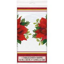 Holly Poinsettia All over Print Tablecover Plastic 54 x 84 Christmas