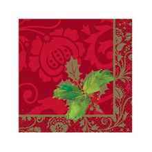 Elegant Holiday Holly 16 Beverage Napkins Christmas