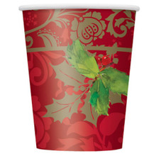 Elegant Holiday Holly 8 Paper 9 oz Hot Cold Cups Christmas