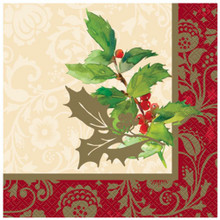 Elegant Holiday Holly 16 Luncheon Napkins Christmas