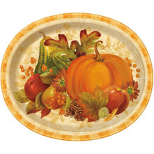 "Fall Thanksgiving Pumpkin Harvest 8 12"" Oval Plates Party Platter"